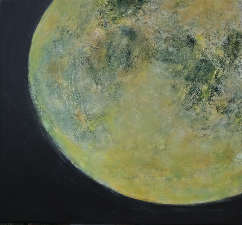 Månekontakt, 80 x 75 cm, akryl