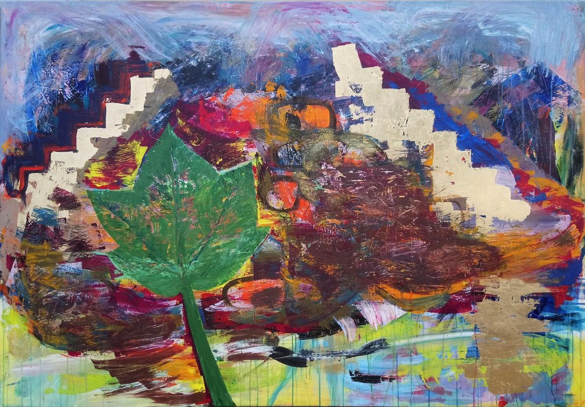 Ruinen i Junglen, 200 x 140 cm, akryl og slagmetal