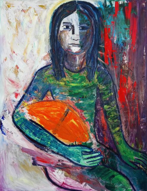 Pigen Med Drageøjet, 150 x 115 cm, olie